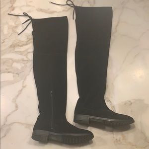 Also black suede over the knee boots